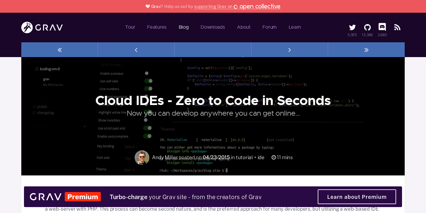 Cloud IDEs - Zero to Code in Seconds | Official home of Grav CMS
