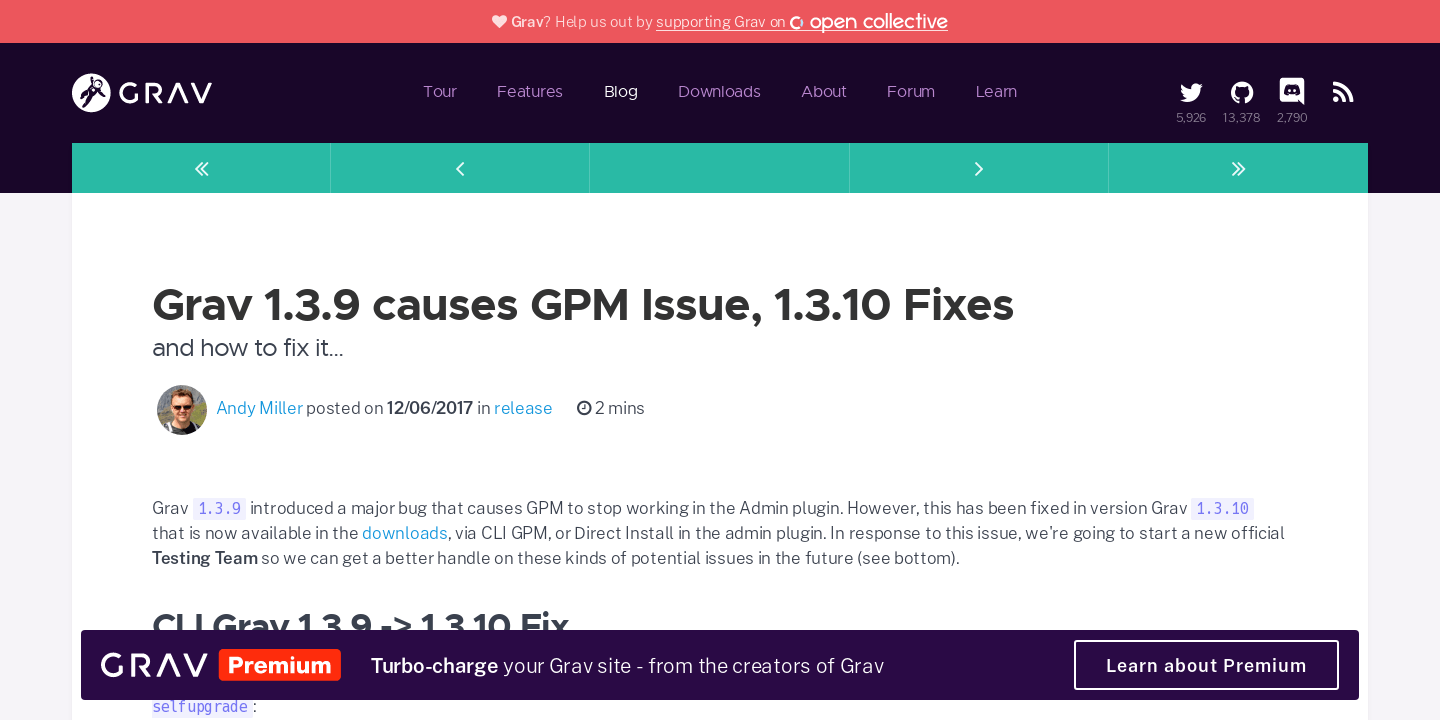 Grav 1 3 9 causes GPM Issue, 1 3 10 Fixes | Official home of Grav CMS
