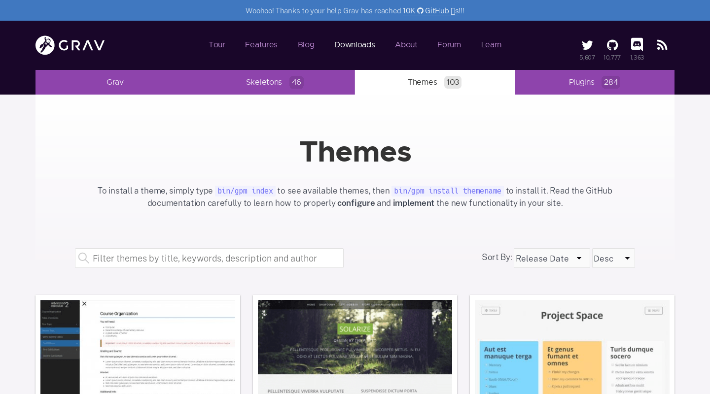 Themes | Official home of Grav CMS