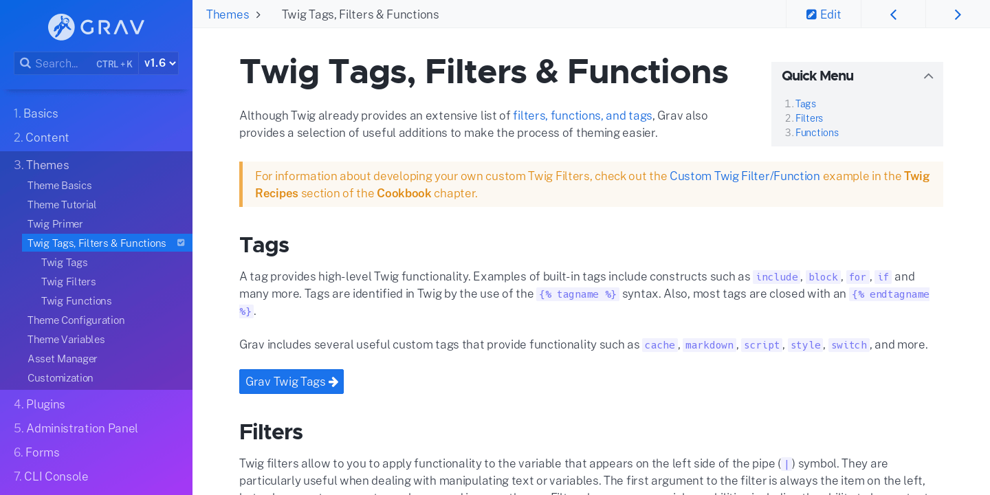 Twig Filters & Functions | Grav Documentation