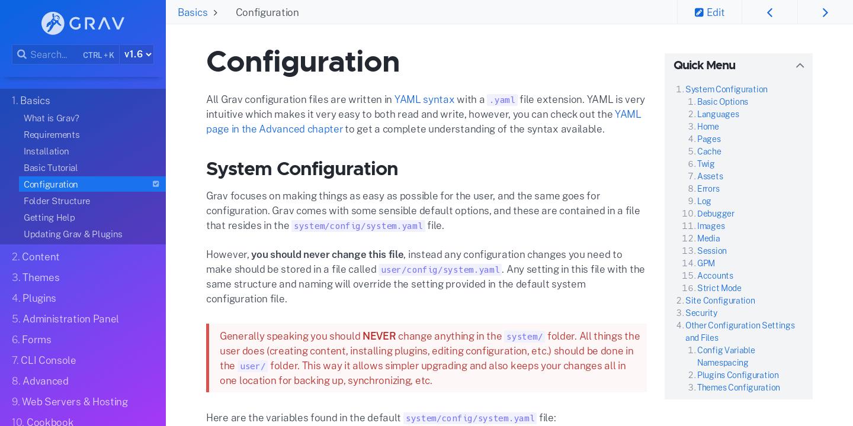 Configuration | Grav Documentation