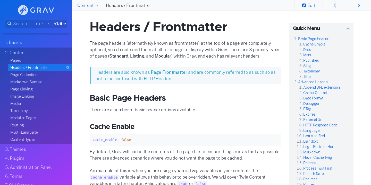 Headers / Frontmatter | Grav Documentation