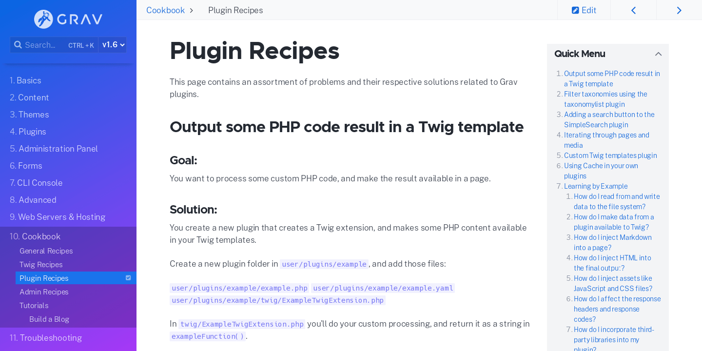 Plugin Recipes | Grav Documentation