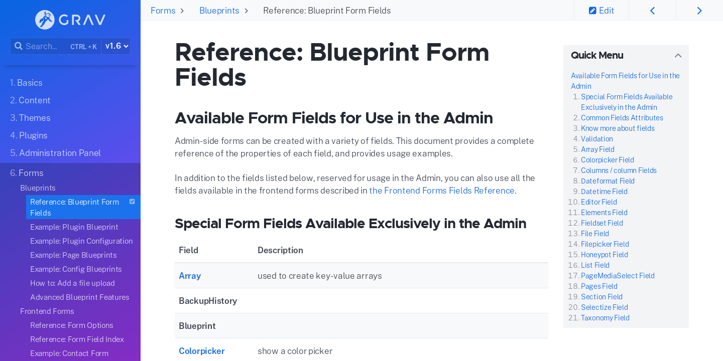 Reference: Blueprint Form Fields | Grav Documentation