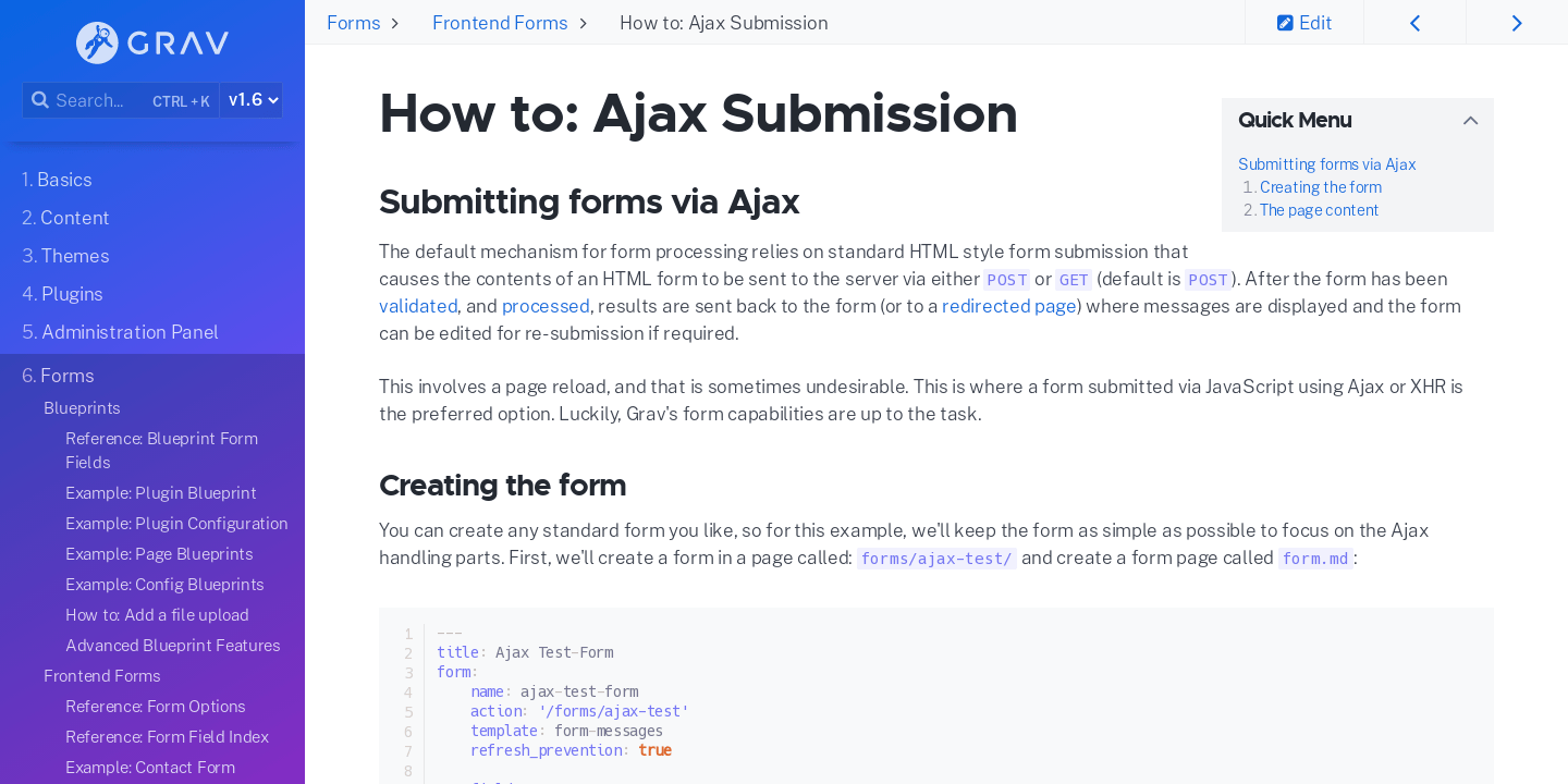 How to: Ajax Submission | Grav Documentation