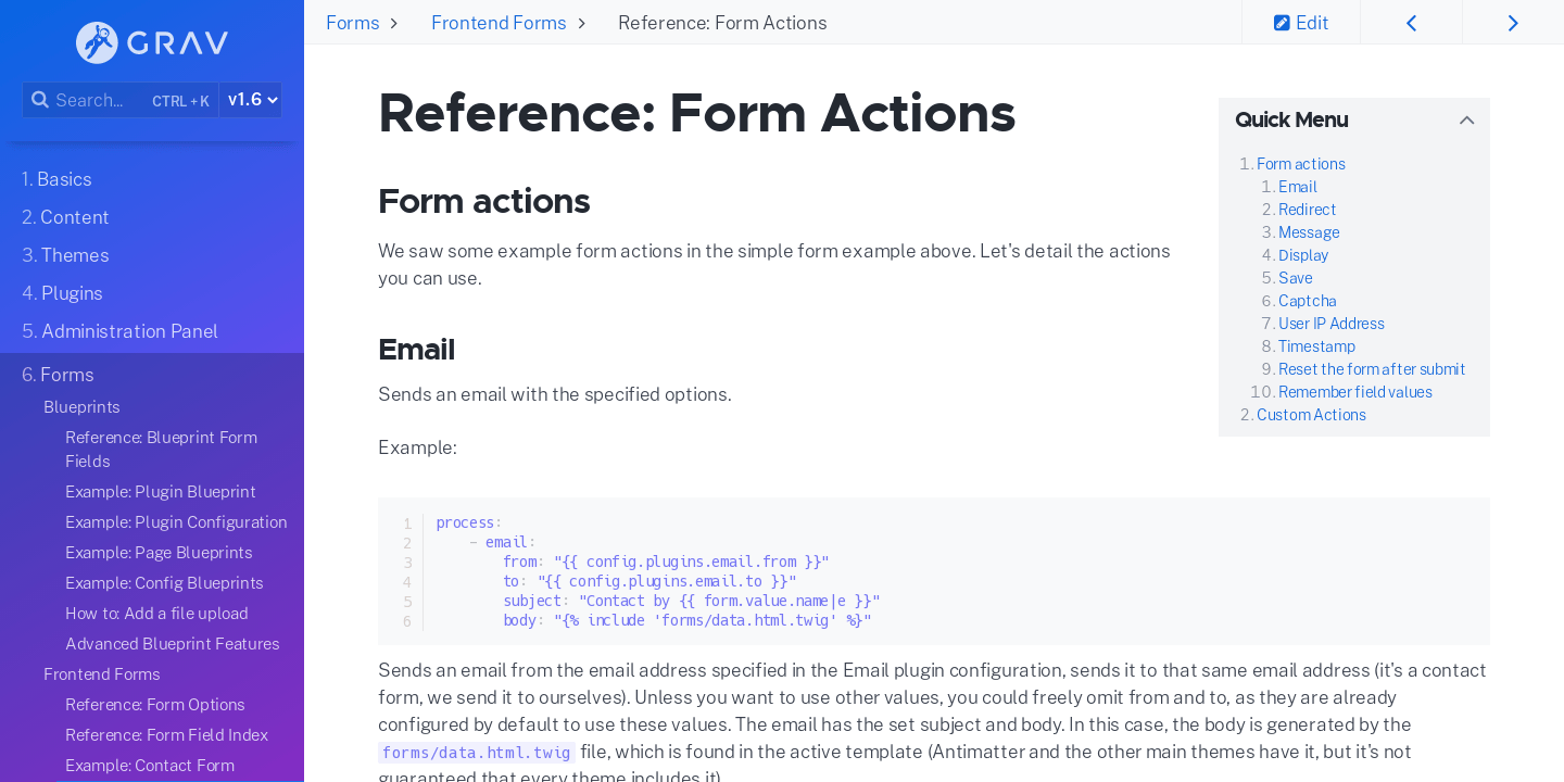 Reference: Form Actions | Grav Documentation